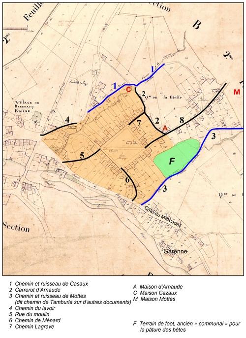 Cadastre de 1836 : les chemins entourant la zone d'habitat de la bastide (tramée en orange).